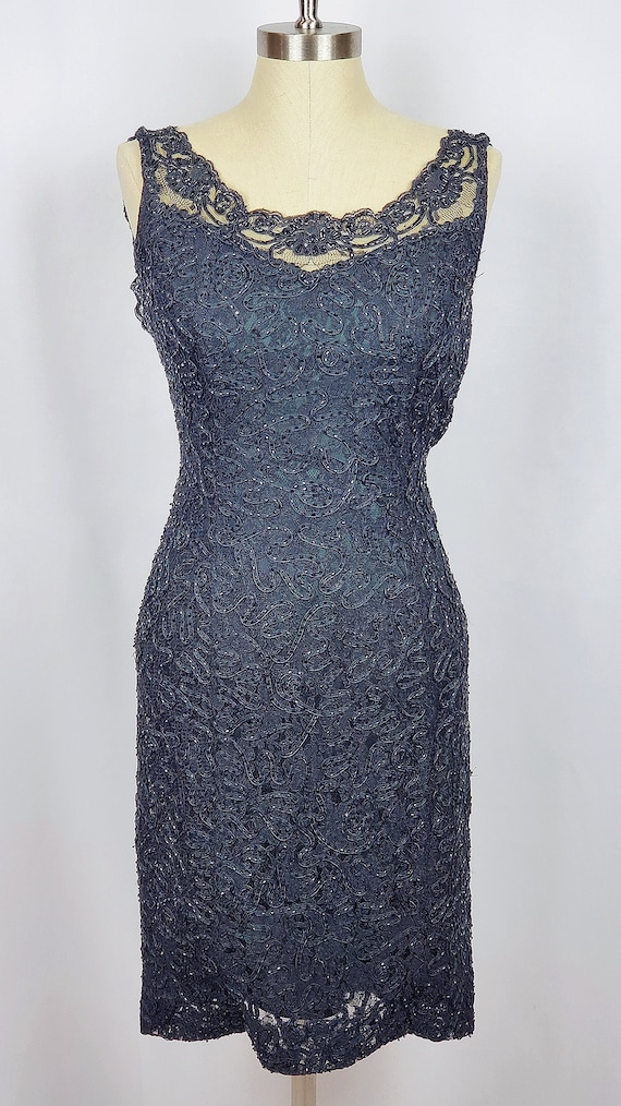 Vintage Carmen Marc Valvo Black Beaded Sheath Dres