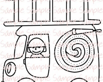 Fire Truck Party Printables Fireman Firefighter Coloring Page Birthday Favor Supplies Instant Download PDF