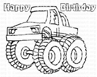 Monster Truck Party Favor Coloring Page Favors Printable Birthday Activity PDF