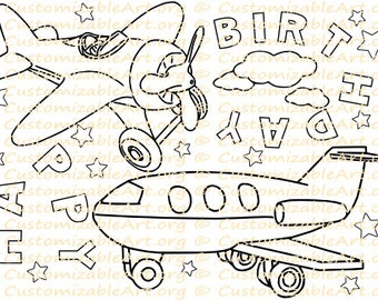 Airplane Party Favors Printable Birthday Favor Coloring Page Sheet Airplanes Kids Plane Ideas Theme Digital Download
