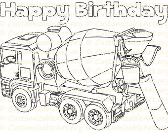 Cement Dump Truck Birthday Coloring Page Printable Party Favor Colouring Sheet Supplies Printables Theme Idea Download PDF