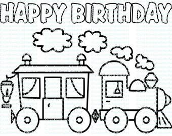 Train coloring book | Etsy