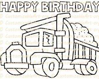 Dump Truck Party Favor Printable Cement Concrete Coloring Sheet Page Construction Birthday Supplies Theme Idea
