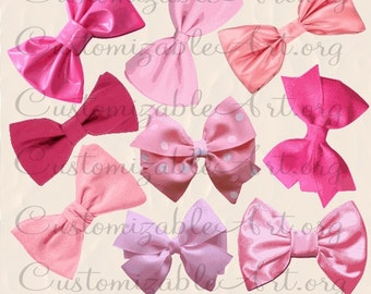 Pink Bow Clipart Digital Tie Clip Art Images Light Pale Hot Hair Ribbon Red Cute Girl Baby Shower Graphic