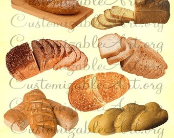 Bread Clipart Digital Clip Art Loafs Of French Images Italian Slices Gourmet Twisted Roll Food PNG Graphics