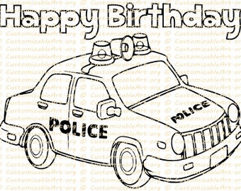 Police Birthday Party Favor Printable Police Car Coloring Page | Etsy
