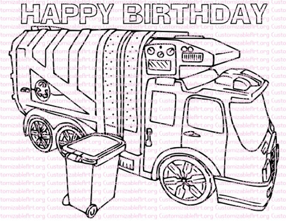 - Garbage Truck Birthday Party Printables Garbage Truck Coloring Etsy