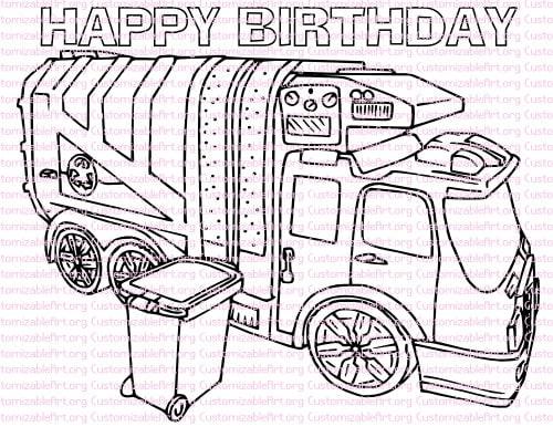 Garbage Truck Birthday Party Printables Garbage Truck Coloring Etsy
