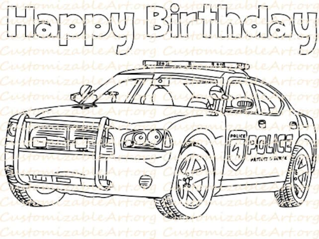 Police Birthday Party Favor Printable Car Coloring Page