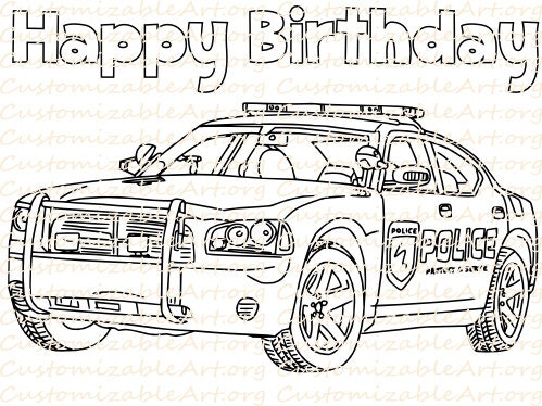 Police Birthday Party Favor Printable Police Car Coloring Page Etsy