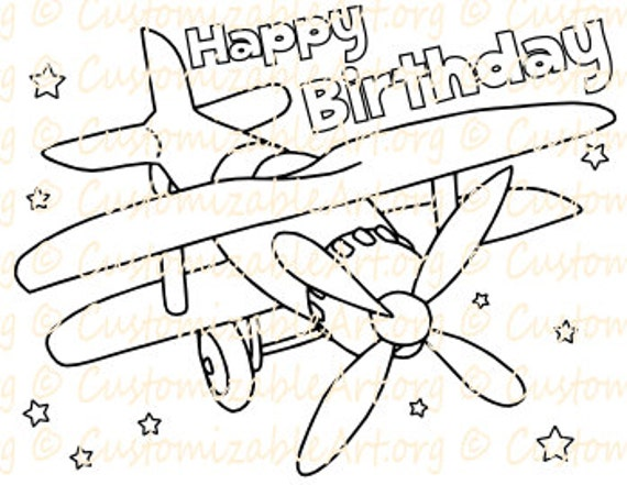 Plane Birthday Coloring Page Printable Airplane Birthday Party Etsy