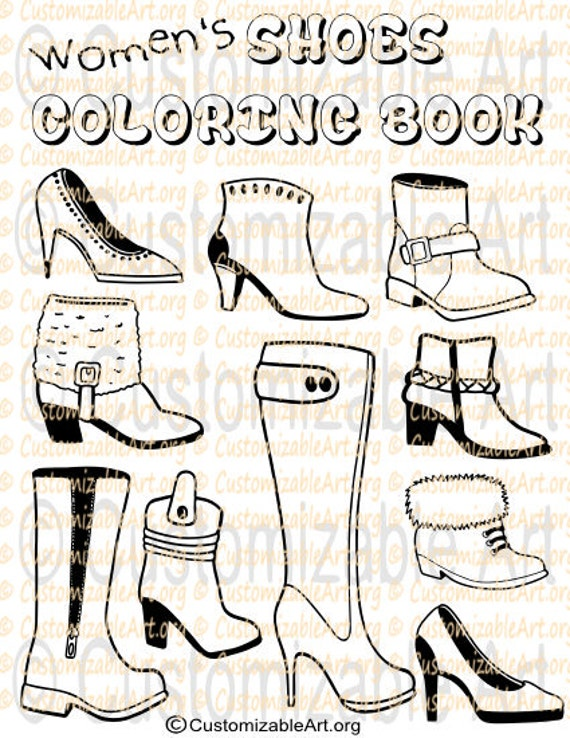 Printable Coloring Book PDF Womens Girls Shoes Boots Colouring Pages  Footwear Style Sheets Party Favors Party Supplies Instant Download PDF