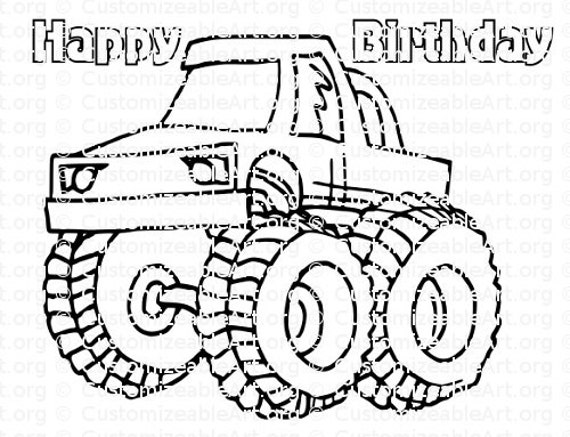 Monster Truck Party Favor Monster Truck Coloring Page Party Etsy