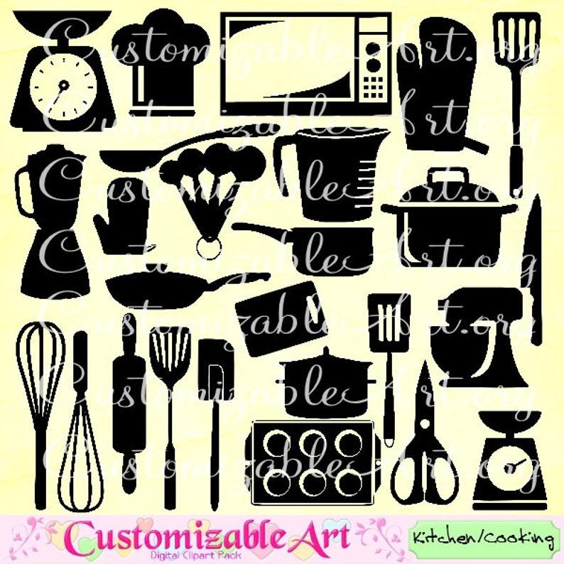 Utensilios De Cocina Clipart Clip Art Imagenes Microondas Etsy