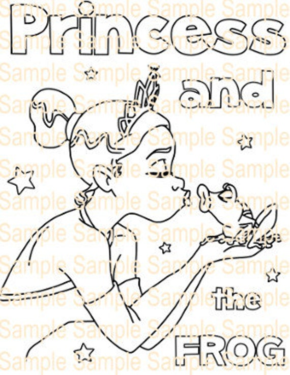 Princess And The Frog Coloring Book Printable Princess And The Etsy