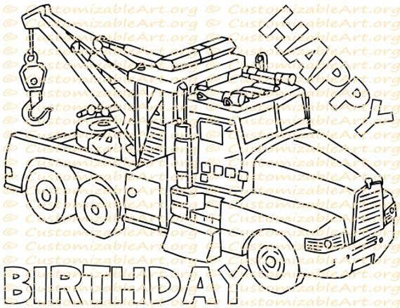 Tow Truck Party Favor Printable Truck Birthday Party Etsy