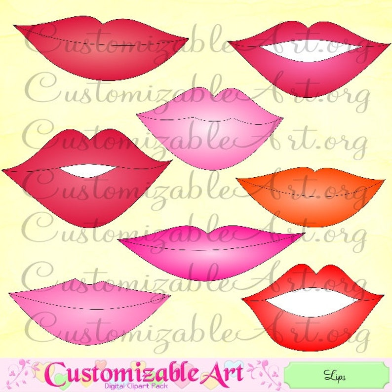 Lips Clipart Digital Red Lips Clip Art Glossy Pink Shiny Lustrous Lips  Kissing Kiss Love Lips Printable Open Closed Lips Images Graphics