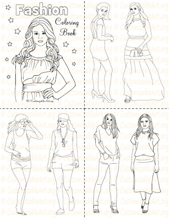 Fashion Coloring Book Printable Fashion Book Girl Women Coloring Pages  Sheets Fashionable High Fashion Woman Model ImagesGraphic Digital PDF
