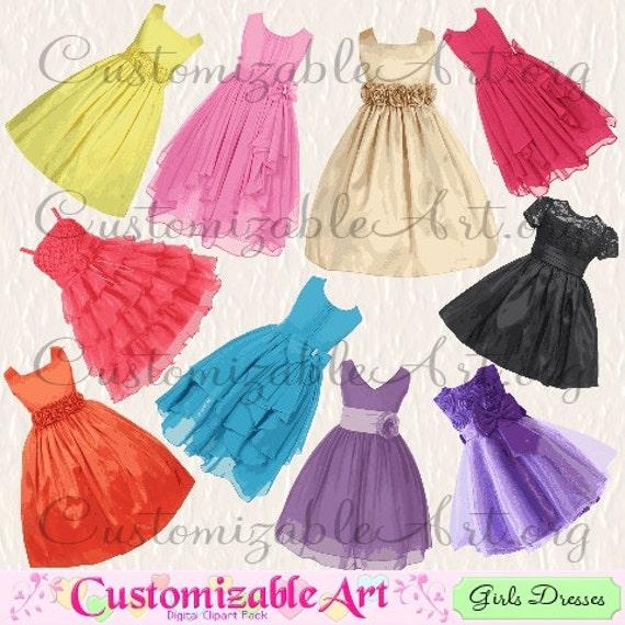 Girls Dress Clipart Digital Dress Clip Art Flower Girl Dresses Clip ...