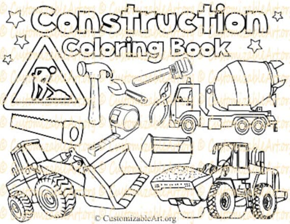 Construction Coloring Book Digital Construction Coloring Pages Etsy