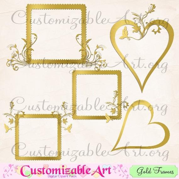 Gold Square Frame Clipart Digital Gold Frame Clip Art Golden Border Images Graphics Layered 3D Heart Cute Golden Digital Picture Frame Clip