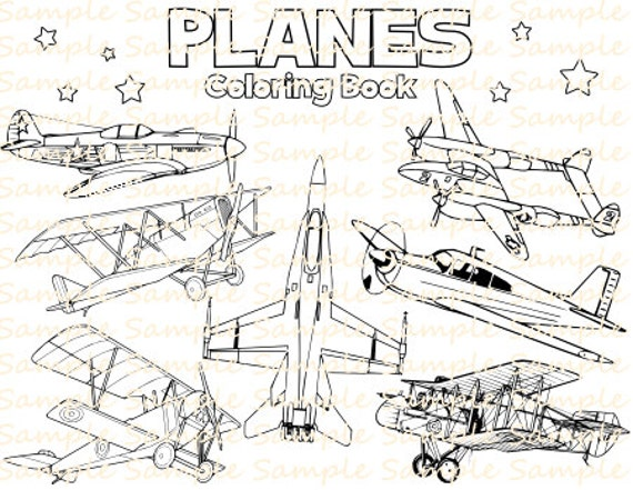 Plane Coloring Book Printable Airplane Coloring Pages Vintage Planes  Aeroplanes Bithday Party Supplies Printables Fun Digital Download PDF
