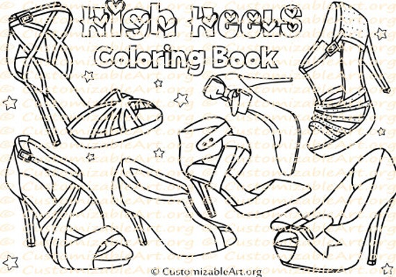 High Heel Shoes Coloring Book Women\'s High Heels Coloring Pages Sheets  Printable Shoe Coloring Book Women\'s Fashion Digital Download PDF