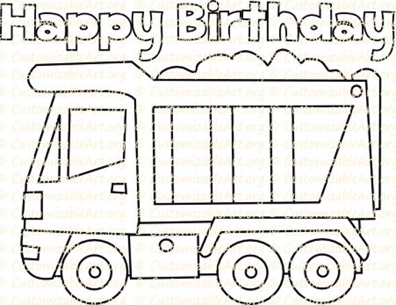 Truck Party Favor Printable Truck Birthday Coloring Page Sheet Etsy