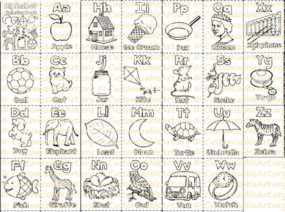 Alphabet Coloring Book Printable Alphabet Coloring Pages Etsy