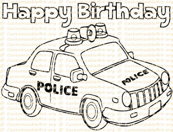 Police Car Coloring Page Printable Police Car Coloring Sheet Etsy