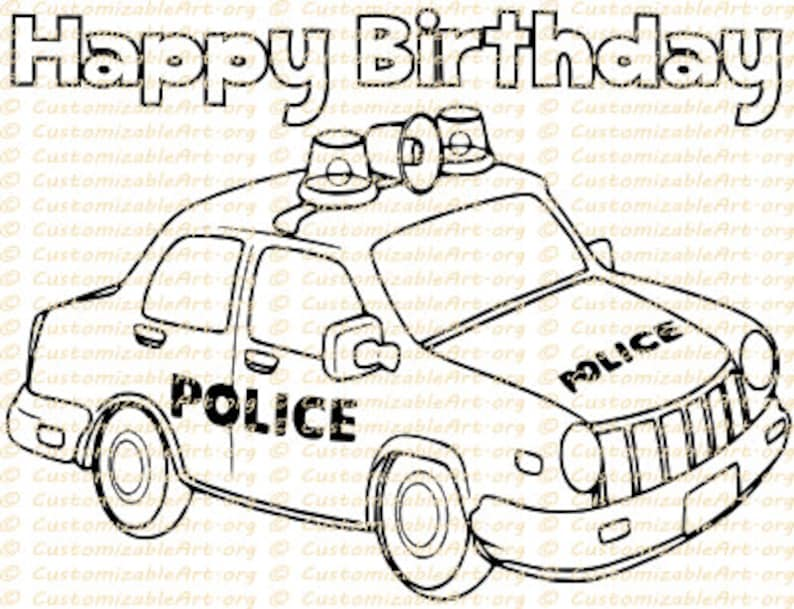 Police Car Coloring Page Printable Police Car Coloring Sheet Cop Car Policeman Colouring Birthday Party Supplies Printables Coloring Pdf
