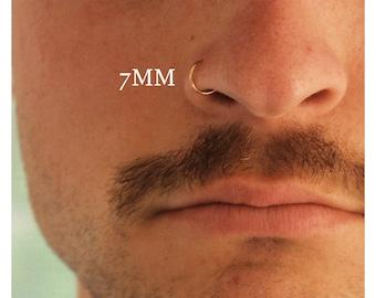 Gold Nose Hoop, Thin Gold Nose Ring, Unisex Nose Piercing Hoop, 20 Gauge Nose Hoop, Tiny Thin Hoops, 8mm Hoop Earrings, Tiny Hoop Earrings
