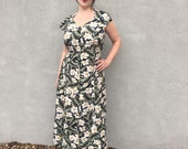 90s Hawaiian Print Button Front Maxi Dress Floral Print Vintage Dress Size 14 XL FREE SHIPPING