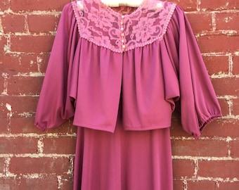 70s Purple Maxi Dress With Lace Bolero Jacket