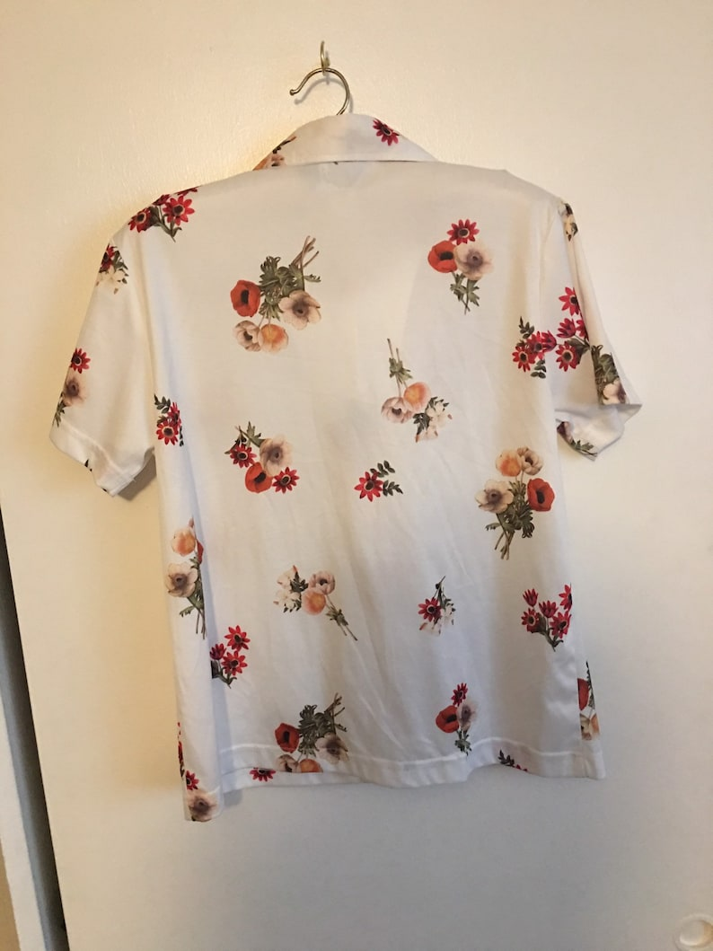 90s Floral Print Button Up Photo Realistic 90s Print 90s Vintage Button Up Blouse Size XL Poppy Print FREE SHIPPING