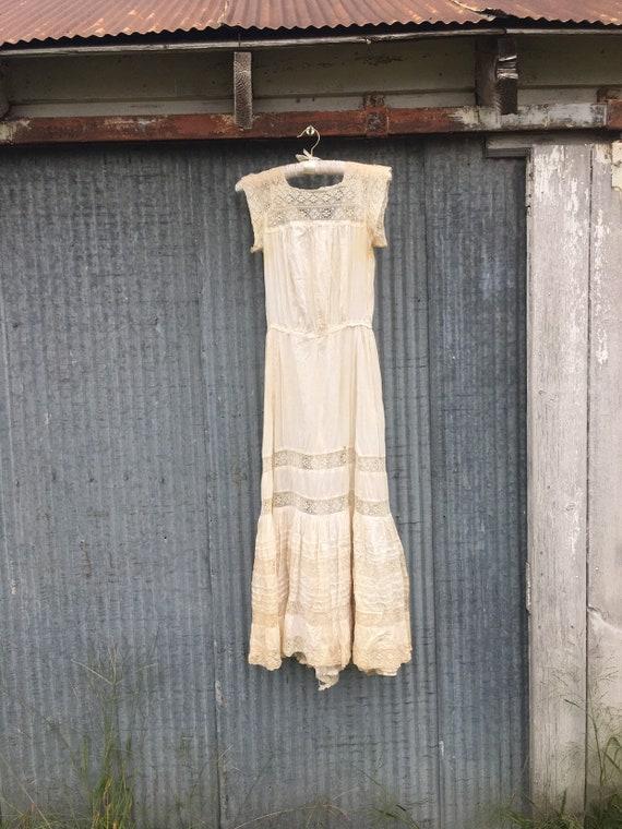 Antique Vintage 1930s/1920s White Linen Summer Dre