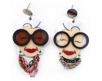 Asymmetrical dangling earrings maxi Iris Apfel for round eyeglass glasses style plexiglass laser cut pearl necklace