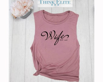 d4867b33e68d8 Wifey Muscle Tee. Wife Tank. Women s Muscle Tank . Wifey. Honeymoon muscle  tank. ThinkElite1