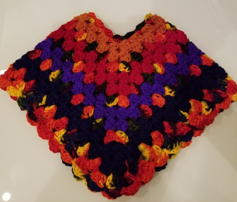 Baby Girl Crochet Poncho Sweater Knit Poncho Pink Red and Blue - Size 6-9  months - Item 315
