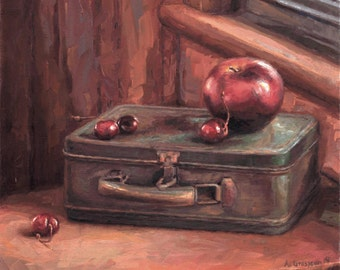 Original Still Life Oil Painting of Apple and Cherries, 'Off to School', Framed