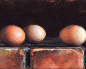 Original Still Life Oil Painting of Eggs, 'The Secret Meeting,'  Framed