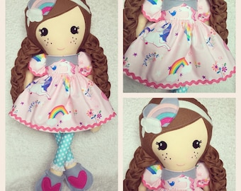 Personalised unicorn Rag Doll , Unique handmade childrens gift , Keepsake doll , Girls plush , New Baby gifts ,doll , Cloth First doll