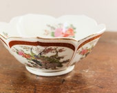 Satsuma Peacock And Chrysanthemum Decorative Rose Flower Bowl Made in Japan - Floral Design - Oriental Home Decor
