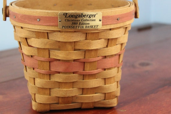 Longaberger Christmas Basket.1988 Longaberger Christmas Collection Poinsettia Basket Circular Collectible Longaberger Basket