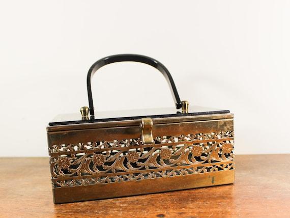 Vintage Lucite Box Purse -  Cut Metal Box Purse -