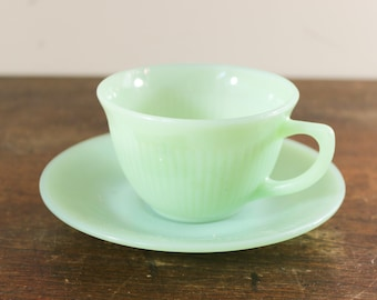 Jane Ray Fire King Jadeite Teacup and Saucer - Mid-Century Collectible Anchor Hocking