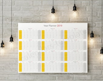 annual wall planner etsy
