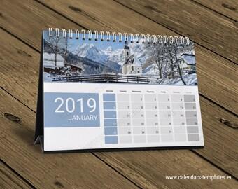 2019 Desk Calendar Template Desk Table Desktop Month Planner Etsy