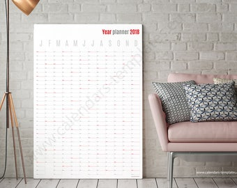 Year Planner. 2018 wall vertical yearly planner agenda calendar KP-W17