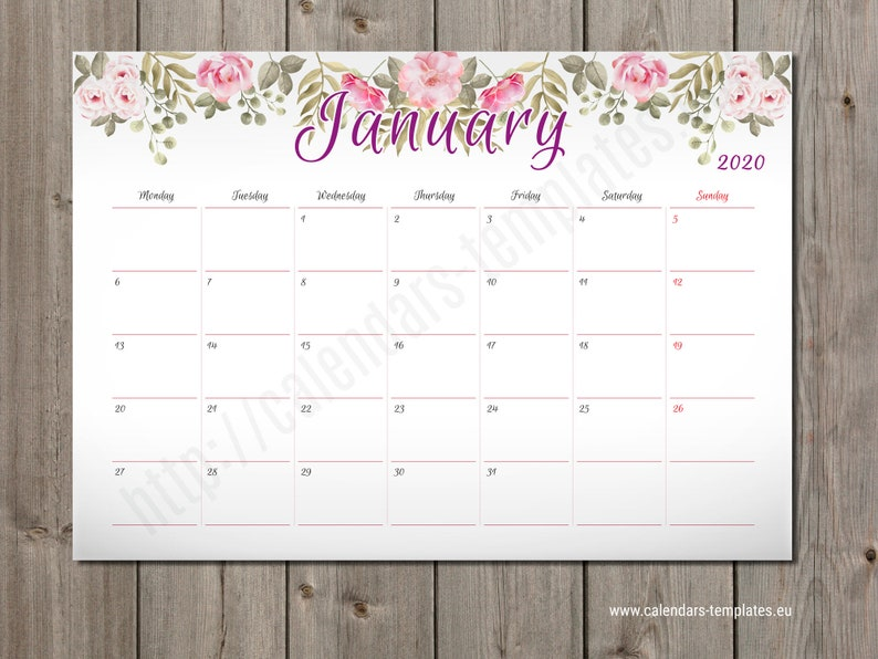 picture about Monthly Planner Template known as 2020 Month-to-month wall and table Planner Calendar Timetable Template (PM-W2), PDF layout